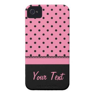 Namensrohr-Socken-Schwarz-Tupfen-Pink iPhone 4 Hüllen