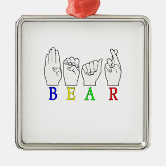 NAMENSzeichen BÄRASL FINGERSPELLED Silbernes Ornament