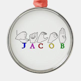 NAMENSzeichen-MANN JAKOBS ASL FINGERSPELLED Silbernes Ornament