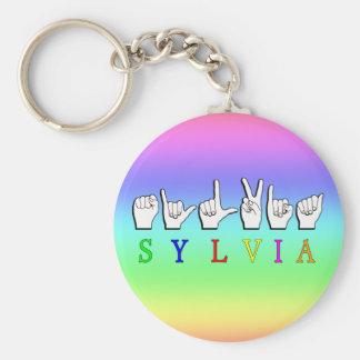 NAMENSzeichen SYLVIA FINGERSPELLED ASL Standard Runder Schlüsselanhänger