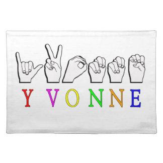 NAMENSzeichen YVONNE FINGERSPELLED ASL Stofftischset