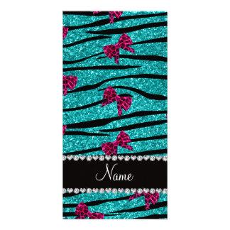 Nametürkis Zebra stripes rosa Bögen Fotokartenvorlage