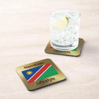Namibia-Flagge+Text-Untersetzer Getränkeuntersetzer