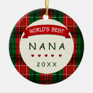 Nana-Feiertags-karierte Keramik Ornament