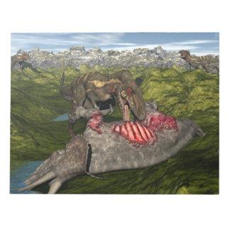 Nanotyrannus, das toten Triceratops isst Notizblock