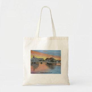 Nantucket Hafen-Sonnenuntergang Budget Stoffbeutel