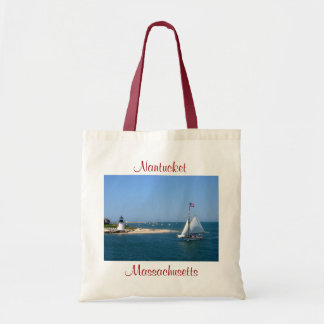 Nantucket Massachusetts Leuchtturm u. Hafen-Tasche Budget Stoffbeutel