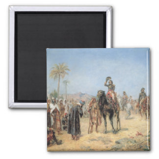 Napoleon, der in einer Ägypter-Oase ankommt (Öl Quadratischer Magnet