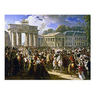 Napoleon in Berlin nahe dem Brandenburger Tor Postkarte