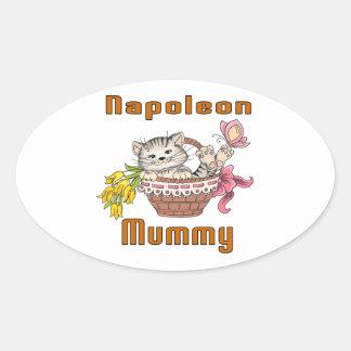 Napoleon-Katzen-Mamma Ovaler Aufkleber