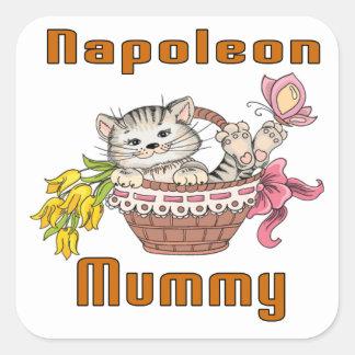 Napoleon-Katzen-Mamma Quadratischer Aufkleber