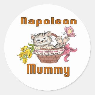 Napoleon-Katzen-Mamma Runder Aufkleber