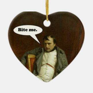 Napoleon sagt:  Beißen Sie mich Keramik Herz-Ornament