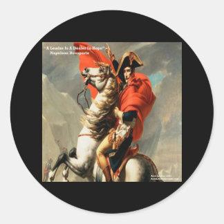 """Napoleon- u. """"Führer-"""" Zitat Runder Aufkleber"""