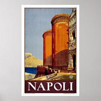Napoli Italien Castel Nuovo Vintage Reise Poster