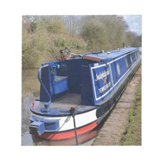 Narrowboat unermüdlich notizblock