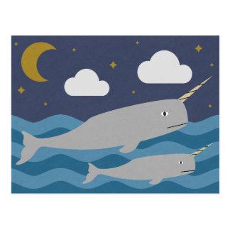Narwhal NachtSchwimmen Postkarte