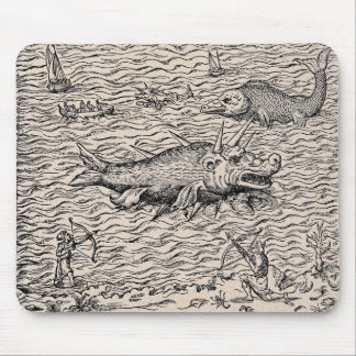 Narwhal und mittelalterliche Seeungeheuer Mousepads
