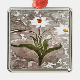 Narzisse auf Marmor Quadratisches Silberfarbenes Ornament