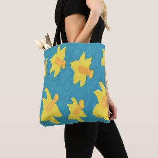 Narzissen auf blauer Hintergrund-Taschen-Tasche Tasche