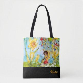 Narzissen-Elf-Wasserfarbe-personalisierte Tasche