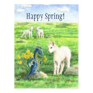 Narzissen-Frühlings-Drachepostkarte Postkarte
