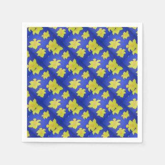 Narzissen-Pop-Kunst-Blau Serviette