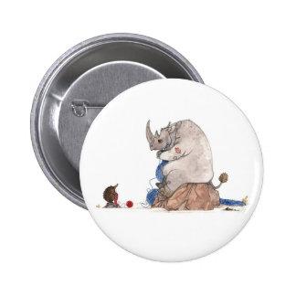 Nashorn, das Knopf strickt Button