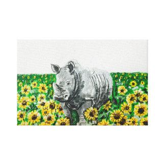 Nashorn in den Sonnenblumen Leinwanddruck