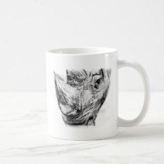 Nashorn in der Holzkohle Kaffeetasse