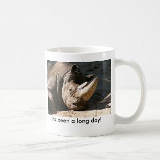 Nashorn ist es ein langer Tag gewesen! Kaffeetasse