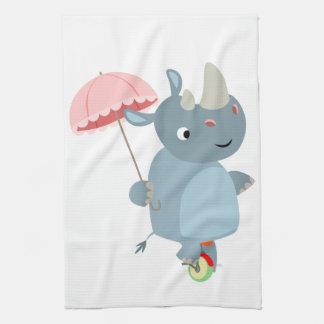 Nashorn mit Regenschirm auf Unicycle-Geschirrtuch Handtuch