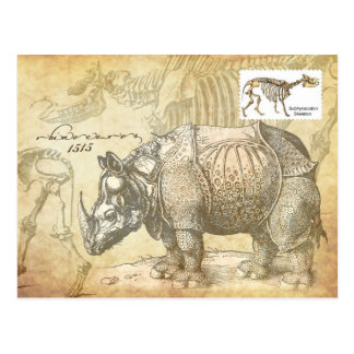 Nashorn und Skelett des 16. Jahrhunderts Postkarte