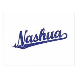 Nashua-Skriptlogo im Blau beunruhigt Postkarte