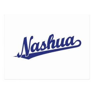 Nashua-Skriptlogo im Blau Postkarte