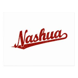 Nashua-Skriptlogo im Rot beunruhigt Postkarte