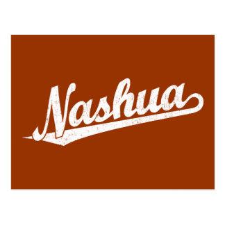 Nashua-Skriptlogo im Weiß beunruhigt Postkarte