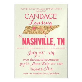 Nashville-GoldJunggeselinnen-Abschieds-Einladung Einladung