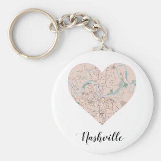 Nashville-Herz-Karte Schlüsselanhänger