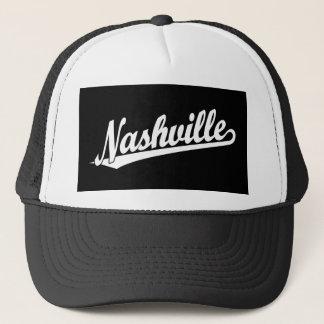 Nashville-Skriptlogo im Weiß Truckerkappe