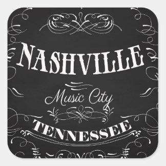 Nashville, Tennessee - Musik-Stadt Quadratischer Aufkleber