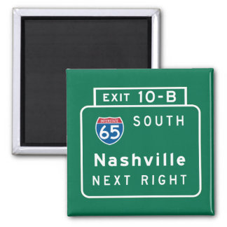 Nashville, TN-Verkehrsschild Quadratischer Magnet
