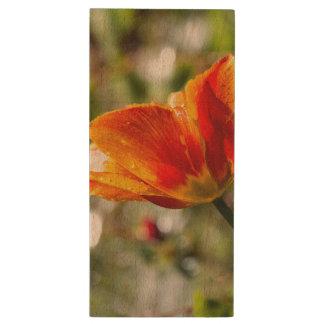 Nasse orange und gelbe Tulpe Holz USB Stick 2.0