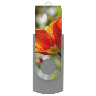 Nasse orange und gelbe Tulpe Swivel USB Stick 2.0