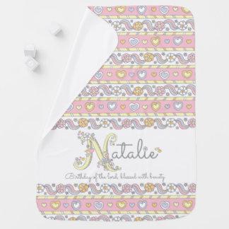 Natalie Namen- und Bedeutungsherzmädchen-Babydecke Puckdecke