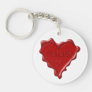 Natalie. Rotes Herzwachs-Siegel mit NamensNatalie Schlüsselanhänger