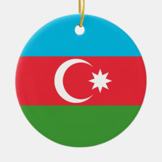 Nationale Weltflagge Aserbaidschans Rundes Keramik Ornament