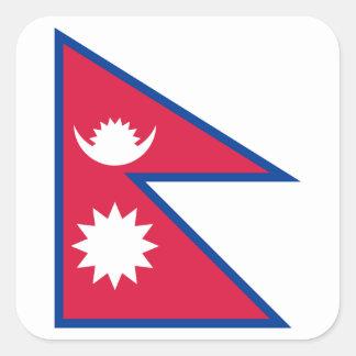 Nationale Weltflagge Nepals Quadratischer Aufkleber