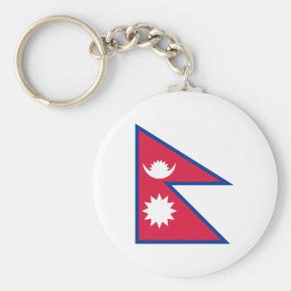 Nationale Weltflagge Nepals Standard Runder Schlüsselanhänger