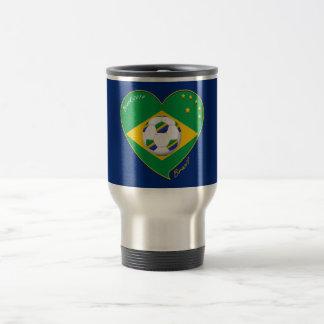 """Nationaler Brazilian football Team. Fußball """"BRAZI Edelstahl Thermotasse"""